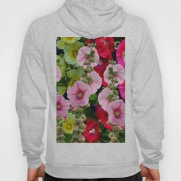 COLORFUL PINK ENGLISH HOLLYHOCKS GARDEN  COLLECTION Hoody