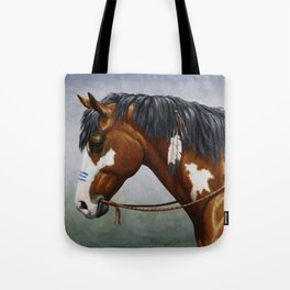 Bay Pinto Native American War Horse Tote Bag