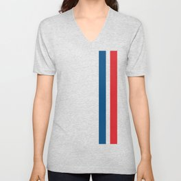 McQueen – Red and Blue Stripes Unisex V-Neck