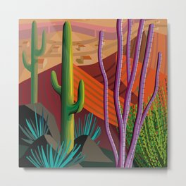 Cactus on Mountaintop Metal Print
