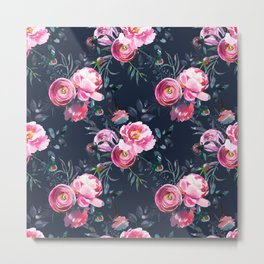 Navy and Bright Pink Floral Print Metal Print