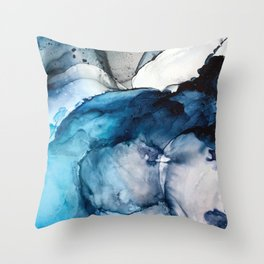 White Sand Blue Sea - Alcohol Ink Painting Throw Pillow