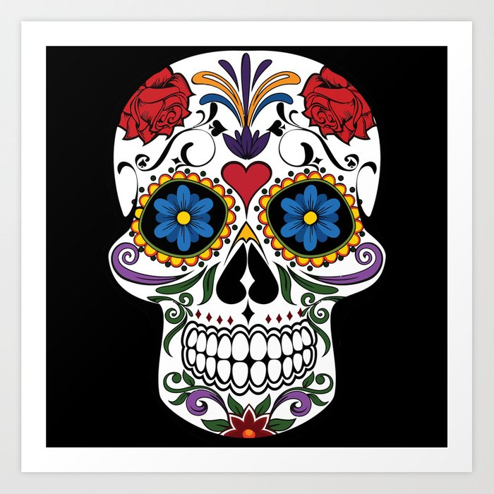 colorful sugar skull art print by mesutok society6