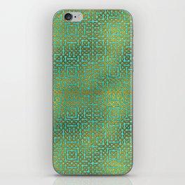 Golden Embossed Celtic Pattern on teal wood iPhone Skin