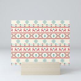 Fair Isle Beige Red #Christmas Mini Art Print