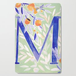 Monogram letter M Citrus Grove Initial Watercolor Cutting Board