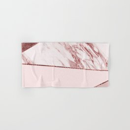 Spliced mixed pinks rose gold marble Hand & Bath Towel