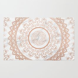 Mandala - rose gold and white marble Rug