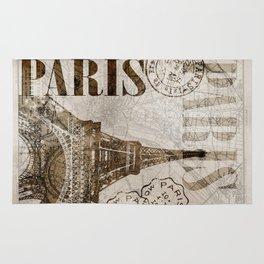 Vintage Paris eiffel tower illustration Rug