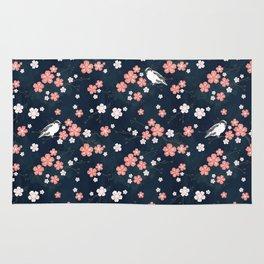 Navy blue cherry blossom finch Rug