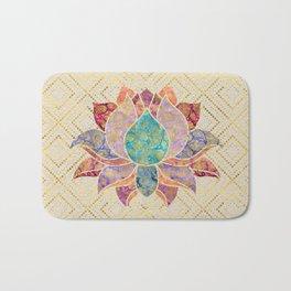 Watercolor & Gold paisley decorated lotus Bath Mat