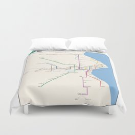 Milwaukee Transit System Map Duvet Cover