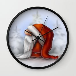 Little Santa in the snow Wall Clock