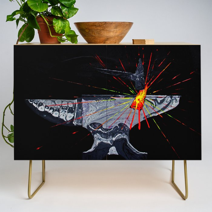 Blacksmith Forged Fire Anvil Credenza