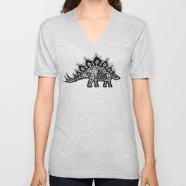 Stegosaurus Lace - Black / Grey Unisex V-Neck