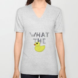 WHAT THE DUCK written with duck tape Unisex V-Neck