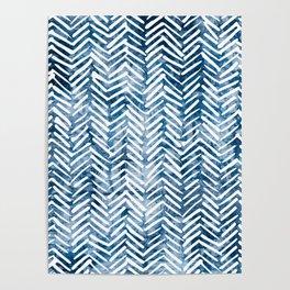 Boho Blue Shibori Tribal Pattern Poster