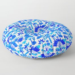Exotic Garden Blue Floor Pillow