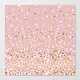Floating Confetti - Pink Blush and Gold Canvas Print