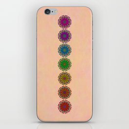 Colorful Rainbow Chakra Mandala , Yoga & Meditation Seven Sacred Mandalas Flower Painting iPhone Skin