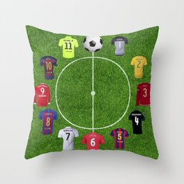Football soccer best players clock Throw Pillow