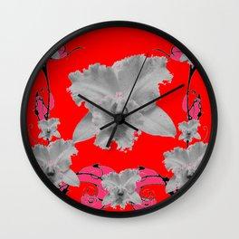 MODERN ART RED ART NOUVEAU WHITE ORCHIDS ART Wall Clock
