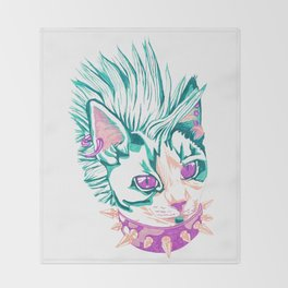 Punk Cat Throw Blanket