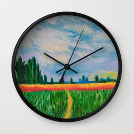 Monet's Expressionism Wheat Field Wall Clock