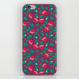 Cranberries pattern (on dark red background) iPhone Skin