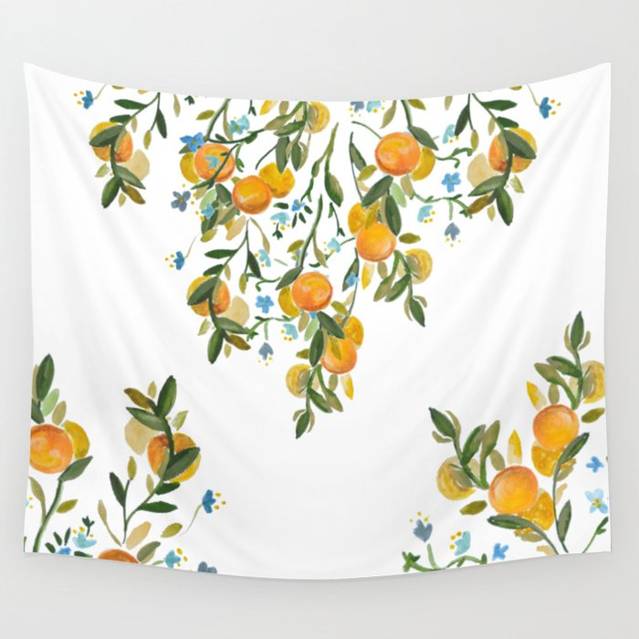 A Bit of Spring and Sushine Trailing Oranges Wall Tapestry