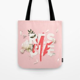 RESCUE ME   Digital typography floral poster pink Tote Bag