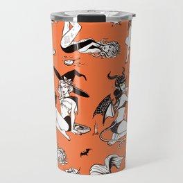 Retro Monster Girl Pinup Pattern Travel Mug