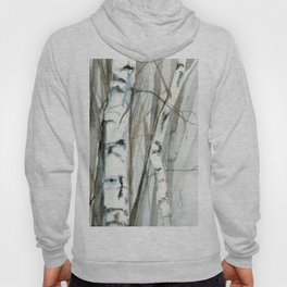 Winter Birch Trees Woodland Watercolor Original Art Print Hoody