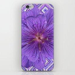 LILAC PURPLE FLORAL & PURPLE GEOMETRIC iPhone Skin