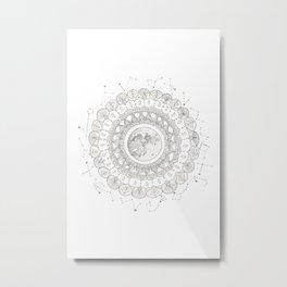 Mandala with Full Moon and Constellations Illustration Metal Print