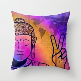 Buddha World Peace Throw Pillow