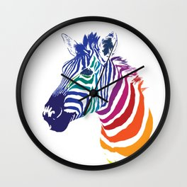 Rainbow Zebra Colorful Animals Whimsical Art Wall Clock