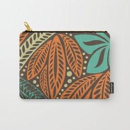 Blue orange retro colored Polynesian Hawaiian floral tattoo design Carry-All Pouch