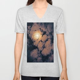 Full moon through purple clouds Unisex V-Neck
