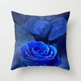 Blue Elephant and Rose Throw Pillow