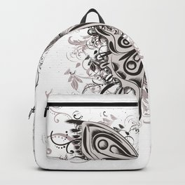 Beautiful filigree butterfly with flowers Backpack