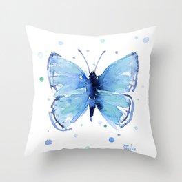 Blue Butterfly Watercolor Butterflies Animals Throw Pillow
