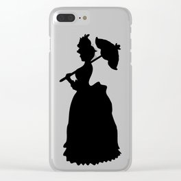 Victorian Woman - black & white - Woman in a Dressing Gown Clear iPhone Case