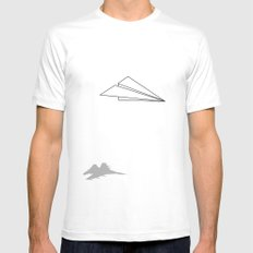 Paper Airplane Dreams LARGE White Mens Fitted Tee
