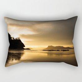 Golden sunset light at beach Rectangular Pillow