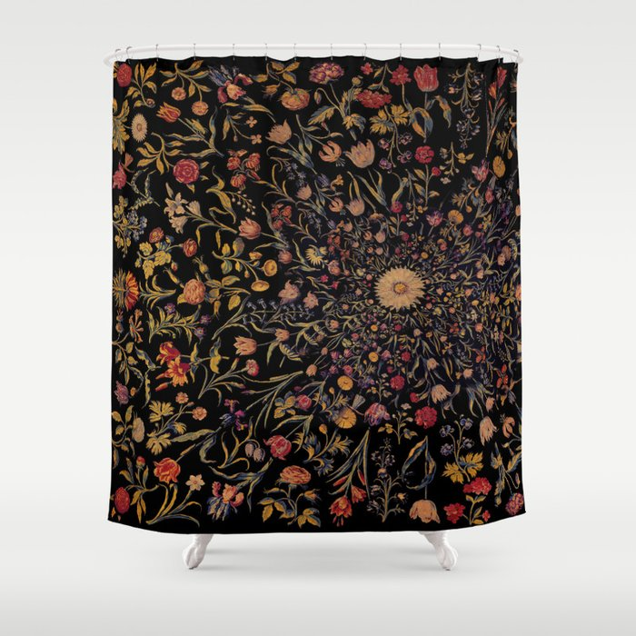 Medieval Flowers on Black Shower Curtain by bloomingvinedesign ...