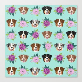 Australian Shepherd dog breed dog faces cute floral dog pattern Canvas Print
