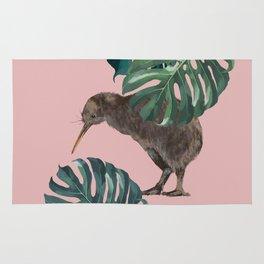 Kiwi Bird with Monstera in Pink Rug