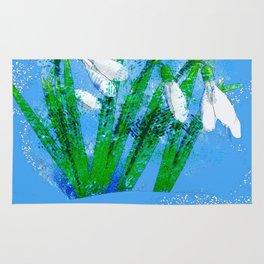 Digital Watercolor snowdrops Rug