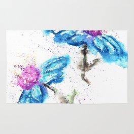 Blue Flowers Painting Rug